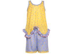 Laura Dare Little Girls Yellow Purple Polka Dot Ruffle 2 Pc Pajama Set 3T