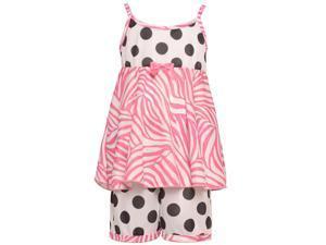 Laura Dare Little Girls Black White Polka Dot Zebra Print 2 Pc Pajama Set 3T