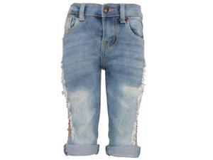 Little Girls Light Blue Ripped Side Detail Fold Over Cuff Capris Jeans 2T