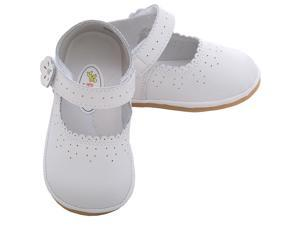 Angel Baby Girls 2 White Punched Flower Mary Jane Shoes