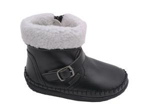 Angel Little Girls Black Fleece Lined Ankle Buckle Boots Shoes 7 Toddler