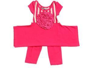 KidCuteTure Little Girls Raspberry Flower Elsa Tunic Leggings Outfit Set 3T