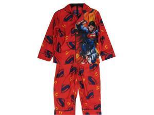 Marvels Little Boys Red Superman Character Logo Print 2 Pc Sleepwear Set 5