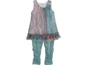 Isobella & Chloe Big Girls Turquoise Monroe Two Piece Pant Outfit Set 7