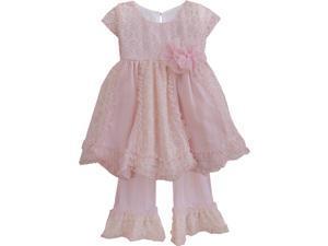 Isobella & Chloe Little Girls Light Pink Darling Demure Two Piece Pant Set 6