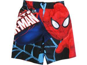 Spiderman Little Boys Black Red Cartoon Character Swimwear Shorts 6