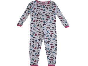 Hello Kitty Big Girls White Long Sleeve Thermo Two Piece Pajama Set 8