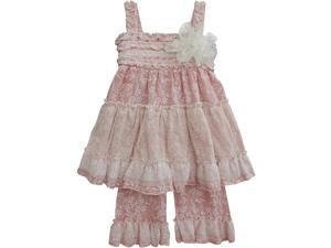 Isobella & Chloe Little Girls Coral Vanilla Chai Two Piece Pant Outfit Set 4T