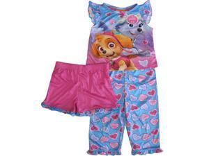 Nickelodeon Little Girls Pink Blue Paw Patrol Heart 3 Pc Pajama Set 2T