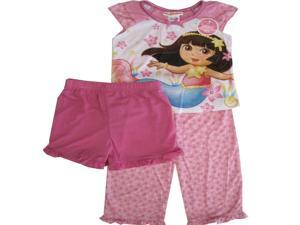 Dora the Explorer Little Toddler Girls Pink Short Sleeve 3 Piece Pajama Set 2T