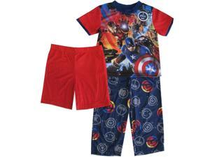 Marvel Little Boys Navy Blue Red Avengers Top Pants Shorts 3 Pc Pajama Set 6