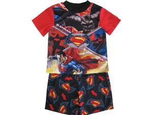 Marvel Little Boys Black Red Batman Vs. Superman Shorts 2 Pc Sleepwear Set 4