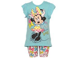 Disney Little Girls Turquoise Minnie Mouse Bow Short Leggings Outfit 3T