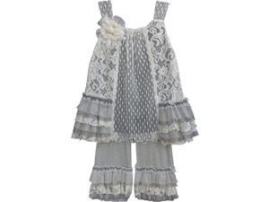 Isobella & Chloe Little Girls Gray Parisian Chic Two Piece Pant Outfit Set 4T