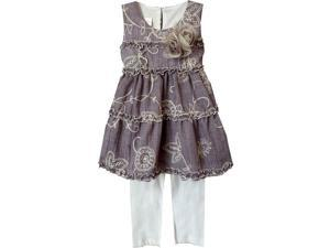 Isobella & Chloe Little Girls Purple Morning Glory Two Piece Pant Set 4T