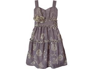 Isobella & Chloe Big Girls Purple Morning Glory Empire Waist Party Dress 10