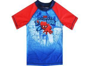 Spiderman Little Toddler Boys Blue Red Character Swimwear Rashguard Top 3T