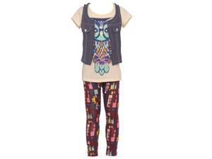 Little Girls Ivory Owl Printed Tee Chambray Vest Leggings Outfit 5