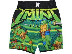 TNT Ninja Turtles Baby Boys Black Green Cartoon Character Swimwear Shorts 18M