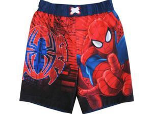 Spiderman Little Toddler Boys Black Red Cartoon Character Swimwear Shorts 2T