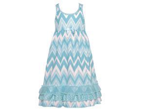 Laura Dare Little Girls Blue White Chevron Stripe Racer Back Nightgown 2T