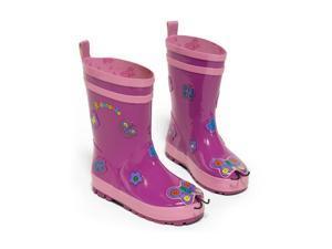 Kidorable Little Girls Purple Butterfly Design Lined Rubber Rain Boots 2 Kids