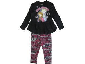 Disney Little Girls Black Frozen Elsa Anna Letter Print 2 Pc Legging Set 3T