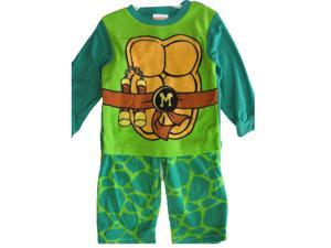 Nickelodeon Little Boys Green Michelangelo Ninja Turtles 2 Pc Pajama Set 4T