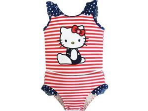 Hello Kitty Baby Girls Red White Stripes Stars Two Piece Tankini Swimsuit 12M