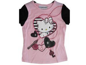 Hello Kitty Big Girls Pink Black Heart Charming Kitty Print T-Shirt 7-8