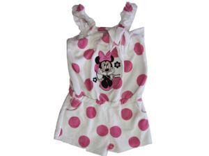 Disney Little Girls Pink White Dot Minnie Mouse Towel Throw On Romper 3T