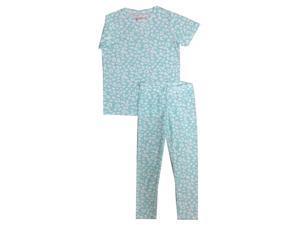 Kings n Queens Big Girls Aqua Leopard Print Allover 2 Pc Pajama Set 14