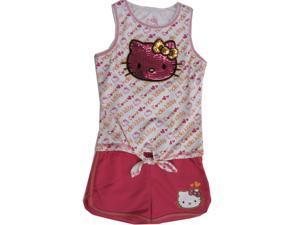 Hello Kitty Little Girls White Fuchsia Glittery Applique Knot Romper 6X