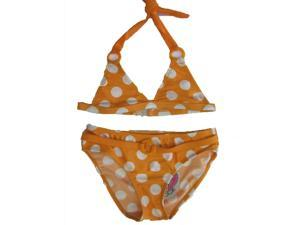 2B Real Little Girls Orange White Polka Dot Print 2Pc Bikini Swimsuit 5-6