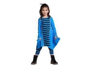 KidCuteTure Little Girls Cobalt Blue Striped Sabrina Trendy Fall Outfit Set 3