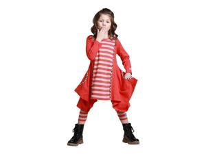 KidCuteTure Little Girls Poppy Red Striped Sabrina Trendy Fall Outfit Set 4