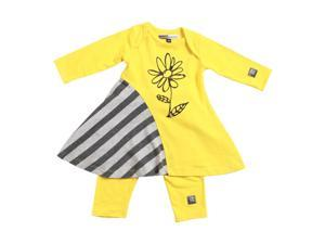 KidCuteTure Baby Girls Honey Yellow Flower Zoe Dress Leggings Outfit Set 6M