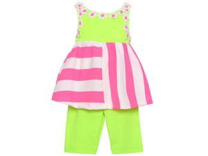 Rare Editions Baby Girls Lime Pink Stripe Flower 2 Pc Pants Outfit 12M