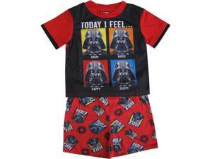 Star Wars Little Boys Black Red Darth Vader Print Shorts 2 Pc Sleepwear Set 4
