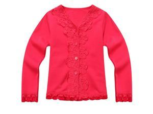 Richie House Little Girls Red Lace Detail Sweet Cardigan 4