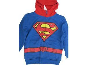 Superman Little Boys Royal Blue Red Logo Print Zipper Hooded Sweater 5-6