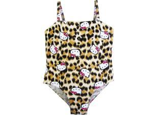 Hello Kitty Little Girls Brown Leopard Print One Piece Swimsuit 6X