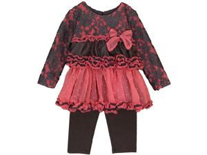 Isobella & Chloe Little Girls Coral Lace Detail Lindsey 2 Pc Pant Set 6