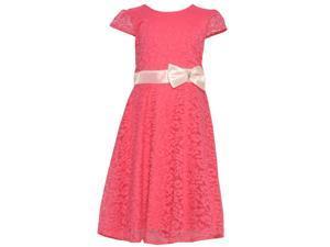 Mini Moca Little Girls Pink Floral Lace Overlay Sash Bow Short Sleeve Dress 5