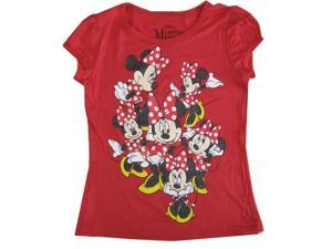 Disney Little Girls Red Minnie Mouse Short Sleeve Shirt Top 5