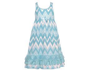 Laura Dare Little Girls Blue White Chevron Stripe Racer Back Nightgown 4T