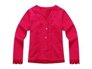 Richie House Little Girls Pink Lace Detail Sweet Cardigan 2