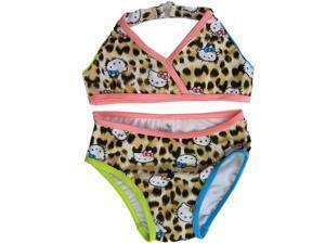 Hello Kitty Little Girls Brown Leopard Spot 2Pc Bikini Swimsuit 3T