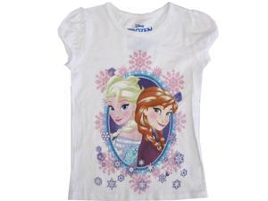 Disney Little Girls White Frozen Elsa Anna Short Sleeve Shirt Top 4