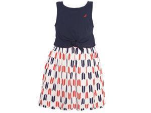 Nautica Baby Girls Navy Knot Detail Top Patterned Sleeveless Dress 18M